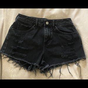 Pacsun distressed black jean shorts